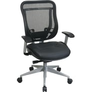 Office Star Space® Leather High Executive Chair with Breathable Mesh Back and Platinum Frame, Black