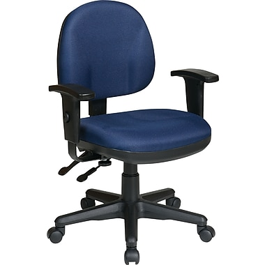 Office Star WorkSmart™ Polyester Ergonomic Managers Chair with Adjustable Arm, Navy