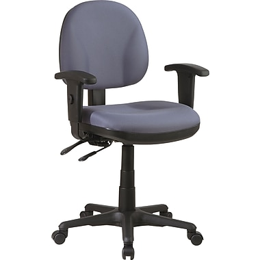 Office Star 8180-226 Work Smart Fabric Mid-Back Managers Chair with Adjustable Arms, Gray
