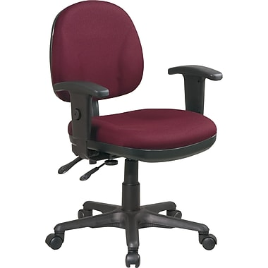 Office Star 8180-227 Work Smart Fabric Mid-Back Managers Chair with Adjustable Arms, Burgundy