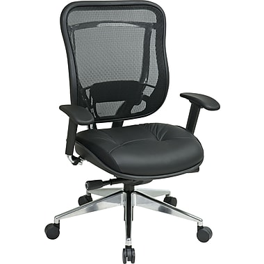 Office Star 818A-41P9C1A8 Space Seating Leather High-Back Executive Chair with Adjustable Arms, Black