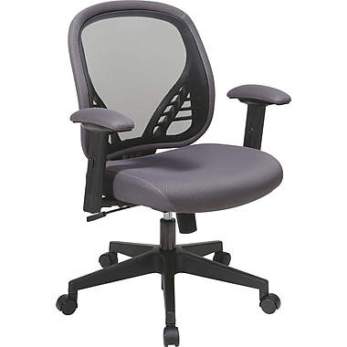 Office Star Space® Fabric DuraGrid® Back&Mesh Seat Manager Chair with Adjustable Padded Arm,Charcoal