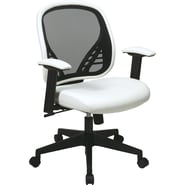 Office Star Space® Vinyl DuraGrid®Back and Mesh Seat Manager Chair with Adjustable Padded Arm, White