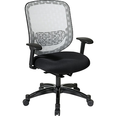 Office Star 829-3R1C728P Space Seating Mesh Executive Chair with Adjustable Arms, White/Black