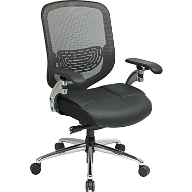 Office Star Space®Seating Series Breathable Matrix Mesh Back with Leather Seat Office Chair,Charcoal