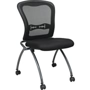 Office Star Proline II® Fabric Deluxe Armless Folding Chair with ProGrid® Back, Coal