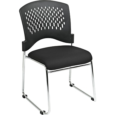Office Star Proline II® Plastic Back and Coal FreeFlex® Fabric Guest Chair, Black
