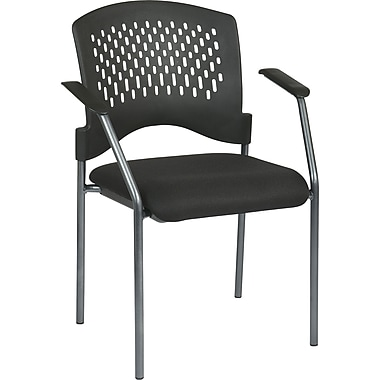 Office Star Proline II® Fabric Guest Chair with Arms and Plastic Wrap Around Back, Black