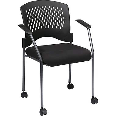 Office Star Proline II® Fabric Titanium Finish Guest Chair with Plastic Wrap Around Back, Black