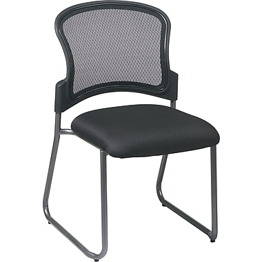 Office Star Proline II® ProGrid® Back Fabric Guest Chair with Titanium Finish, Counter Black