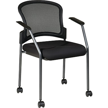 Office Star Proline II® FreeFlex® Fabric Titanium Finish Rolling Guest Chair, Coal