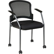 Office Star Proline II ProGrid Metal Guest Chair with Casters, Coal (86740-30)