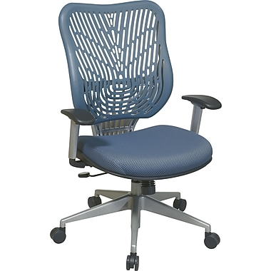 Office Star SpaceFlex® Fabric Back and Mesh Seat Manager Chair with Adjustable Arm, Blue Mist