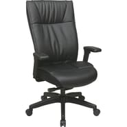 Office Star Space® Leather Contemporary Executive Chair, Black