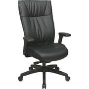 Office Star 9370-55NC17U Space Seating Leather Mid-Back Executive Chair with Adjustable Arms, Black