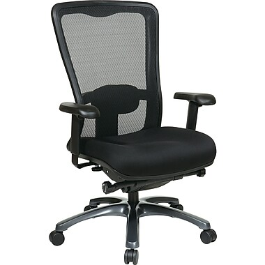 Office Star High-Back Fabric Executive Chair, Adjustable Arms, Black