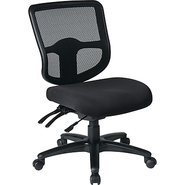 Office Star Dual Function Ergonomic Armless Task Chair with Navy Fabric Seat, Coal