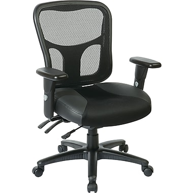 Office Star 98346 ProLine II Leather High-Back Managers Chair with Adjustable Arms, Black
