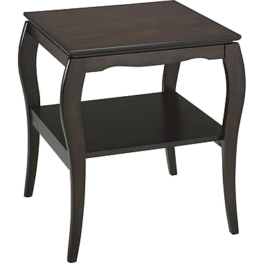 Office Star Brighton 24'' H x 21 1/2'' W x 21 1/2'' D Veneers and Solid Wood End Table, Mocha