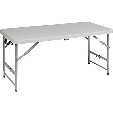 Office Star WorkSmart™ 29 1/4in. H x 48in. W x 24in. D Resin Fold in Half Multi Purpose Table, Gray