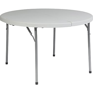 Office Star Worksmart 48in.Dia. Folding Table, White (BT48F)
