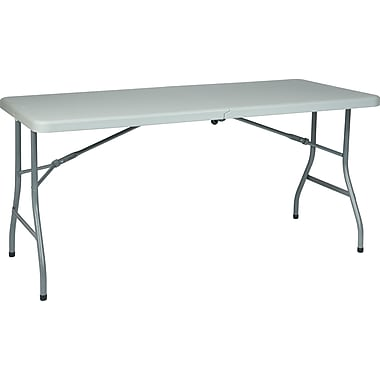 Office Star WorkSmart™ 5' Resin Center Fold Multi Purpose Table with Wheel, Gray
