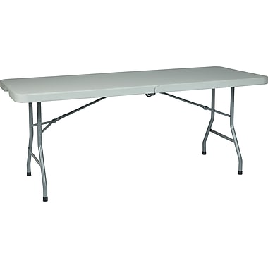 Office Star WorkSmart™ 6' Resin Multi Purpose Center Fold Table with Wheel, Gray