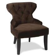 Office Star Avenue Six® Wood Curves Hourglass Accent Chair, Chocolate Velvet