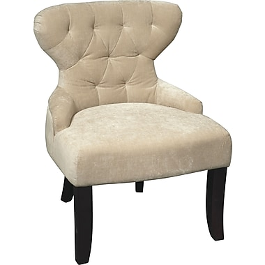 Office Star Avenue Six® Wood Curves Hourglass Accent Chair, Vintage Linen