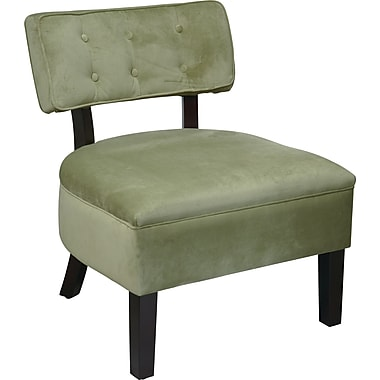Office Star Avenue Six® Wood Curves Button Accent Chair, Spring Green Velvet