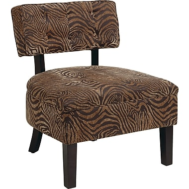 Office Star Avenue Six® Wood Curves Button Accent Chair, Wild Espresso