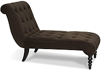Office Star Avenue Six® Fabric Curves Tufted Chaise Lounge, Chocolate Velvet