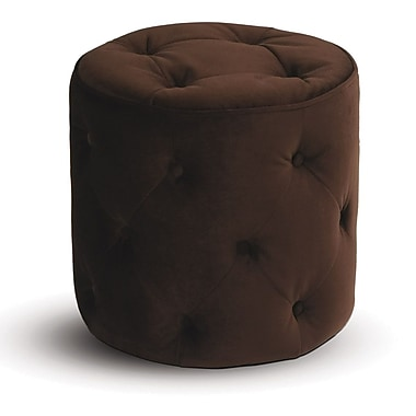 Office Star Avenue Six® Fabric Curves Tufted Round Ottoman, Chocolate Velvet