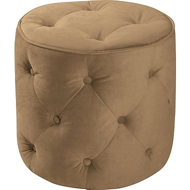 Office Star Avenue Six® Fabric Curves Tufted Round Ottoman, Coffee Velvet