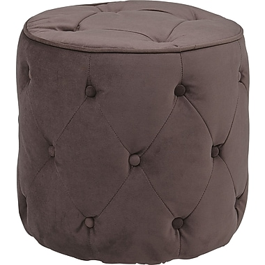 Office Star Avenue Six® Fabric Curves Tufted Round Ottoman, Purple Velvet