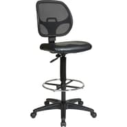 Office Star WorkSmart™ Vinyl Deluxe Screen Back Drafting Chair with Adjustable Footring, Black
