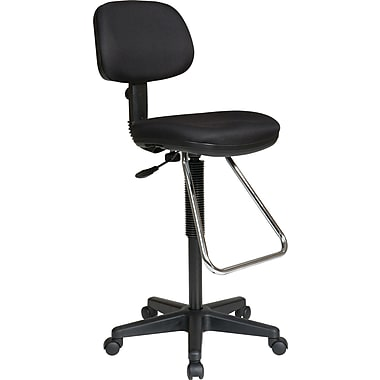 Office Star DC430-231 Work Smart Fabric Armless Drafting Chair, Black