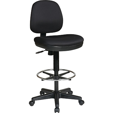 Office Star WorkSmart™ Fabric Contemporary Drafting Chair with Flex Back, Black