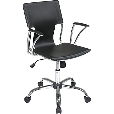 Office Star Ave Six Mid-Back Vinyl Conference Chair, Fixed Arms, Black