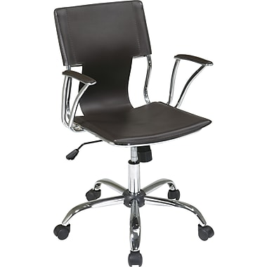 Office Star DOR26-ES Ave Six Vinyl Conference Chair with Fixed Arms, Espresso