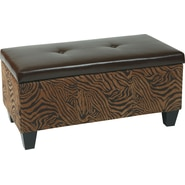 Office Star Avenue Six® Detour Animal Print Storage Ottoman, Wild Espresso