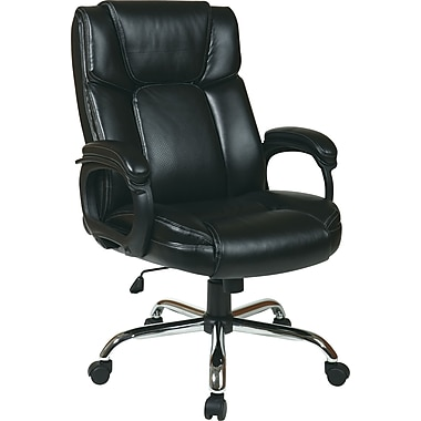 Office Star Worksmart High-Back Eco Leather Executive Chair, Fixed Arms, Black