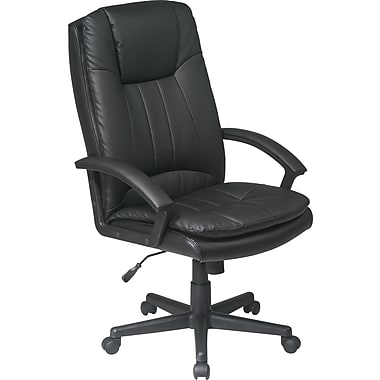Office Star EC22070-EC3 Work Smart Eco Leather High-Back Executive Chair with Fixed Arms, Black