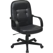 Office Star EC3393-EC3 Work Smart Eco Leather Mid-Back Managers Chair with Fixed Arms, Black