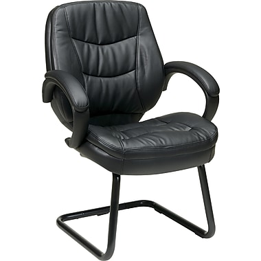 Office Star WorkSmart™ Eco Leather Deluxe Guest Chair, Black