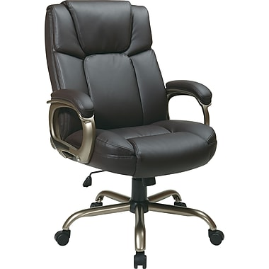 Office Star Big and Tall Work Smart Leather Executive Chair with Fixed Arms, Espresso