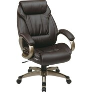 Office Star WorkSmart™ Eco Leather Executive Chair with Padded Loop Arm with Coated Base, Espresso