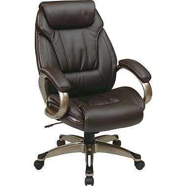 Office Star Ergonomic Eco Leather Executive Chair, Fixed Arms, Espresso