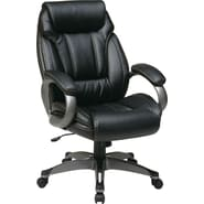 Office Star WorkSmart™ Eco Leather Executive Chair with Padded Loop Arm with Coated Base, Black