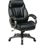 Office Star High-Back Eco Leather Executive Chair, Fixed Arms, Black